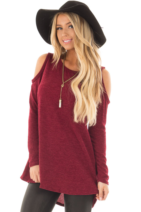 Burgundy Cold Shoulder Tunic Sweater with Rounded Hemline front close up