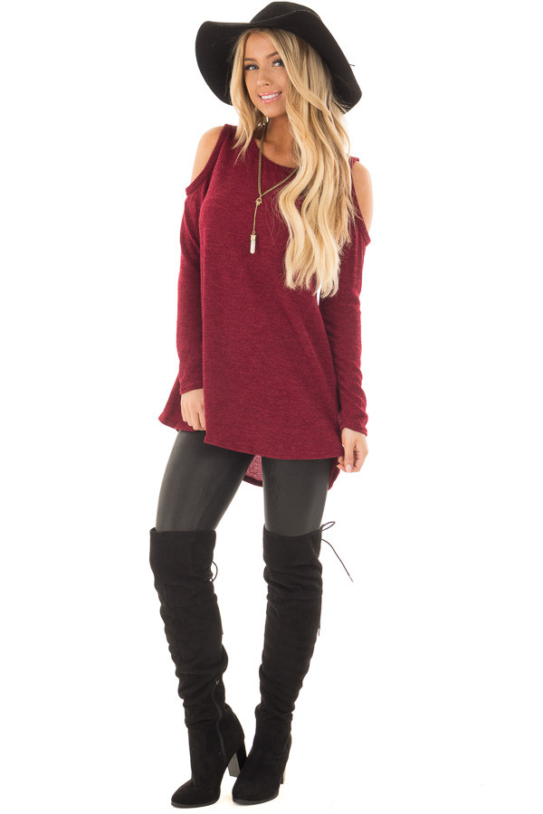 Burgundy Cold Shoulder Tunic Sweater with Rounded Hemline front full body