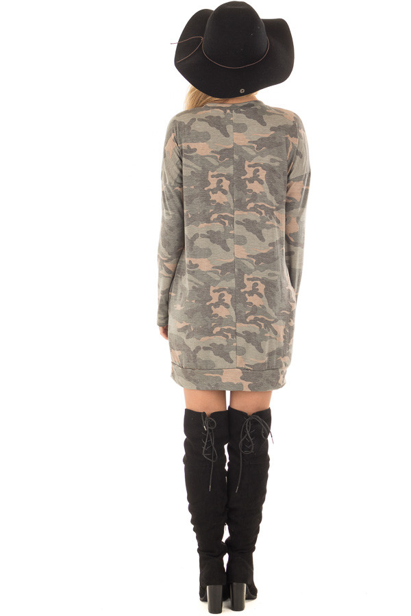 Camo Tunic Dress with Hidden Pockets back full body