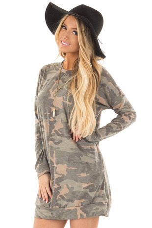 Camo Tunic Dress with Hidden Pockets front close up