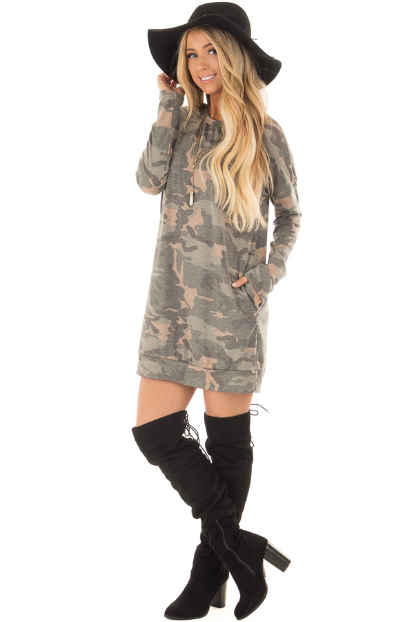 Camo Tunic Dress with Hidden Pockets front full body