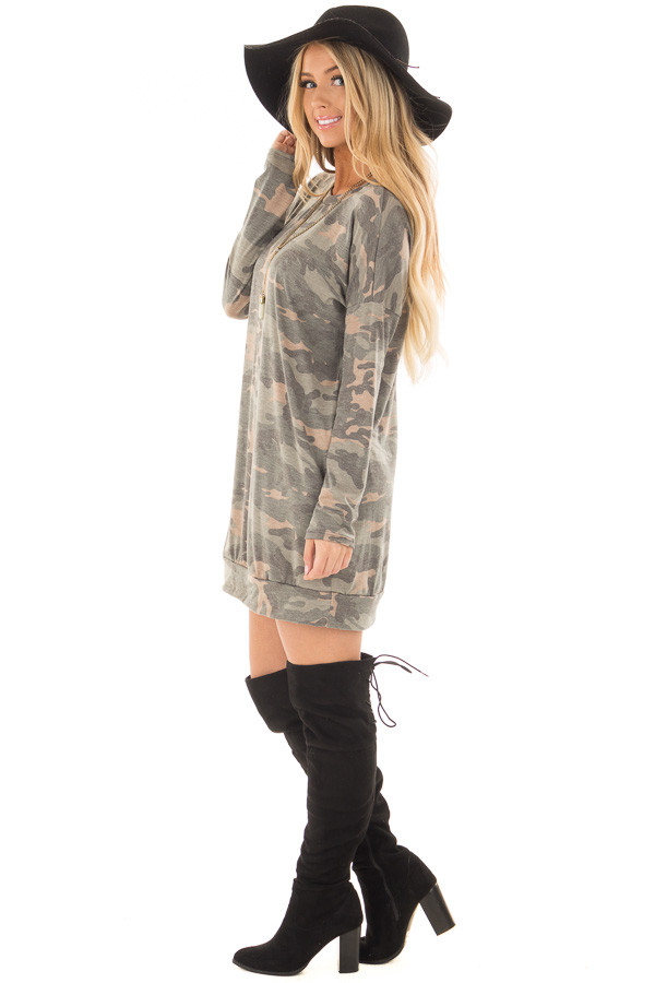 Camo Tunic Dress with Hidden Pockets side full body