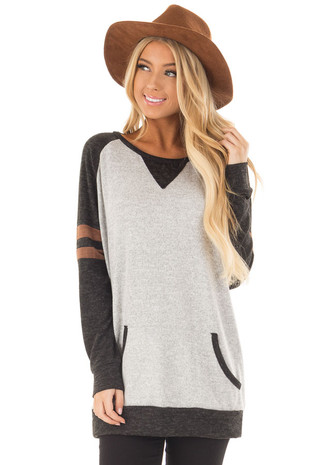 Heather Grey Sweater with Black and Faux Suede Details front close up