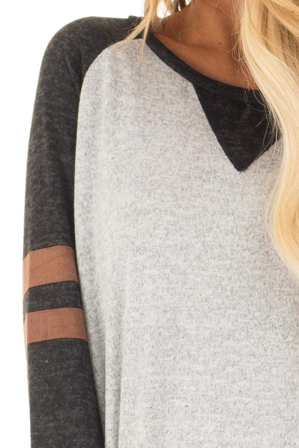 Heather Grey Sweater with Black and Faux Suede Details - Lime Lush ...