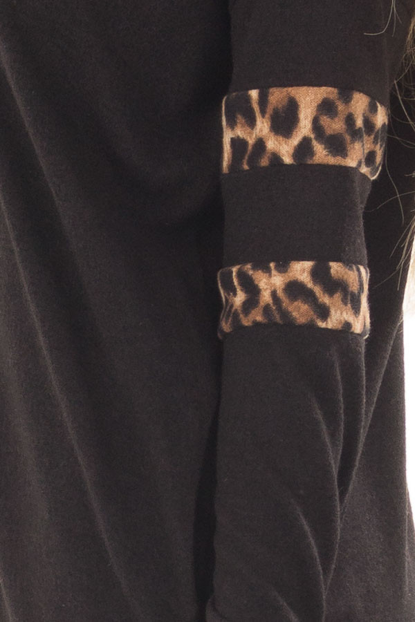 Black Tunic Sweater with Leopard Print Detail detail