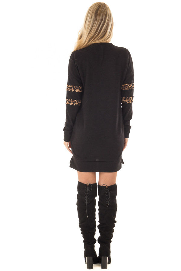 Black Tunic Sweater with Leopard Print Detail back full body