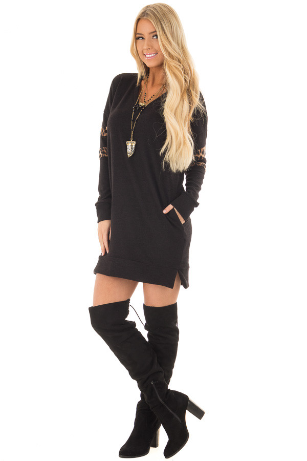 Black Tunic Sweater with Leopard Print Detail front full body