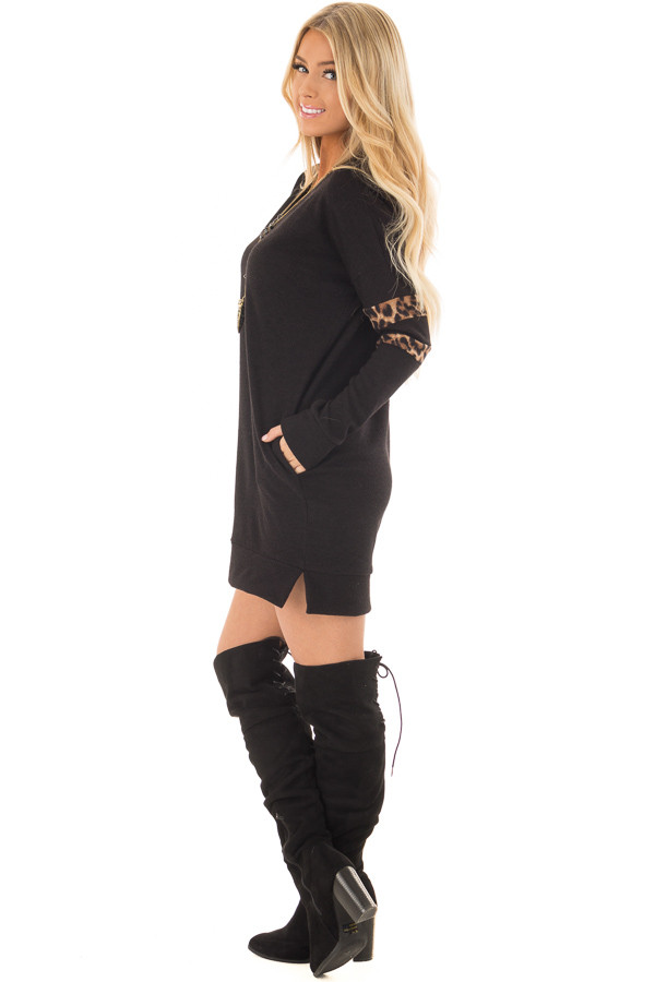 Black Tunic Sweater with Leopard Print Detail side full body