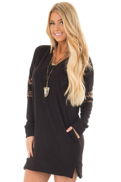 Black Tunic Sweater with Leopard Print Detail front close up