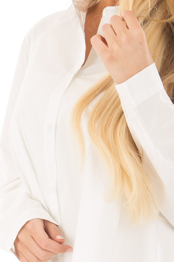 Ivory Oversized Button Up Tunic Top detail