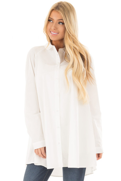 Ivory Oversized Button Up Tunic Top front close up