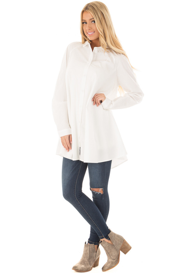 Ivory Oversized Button Up Tunic Top front full body