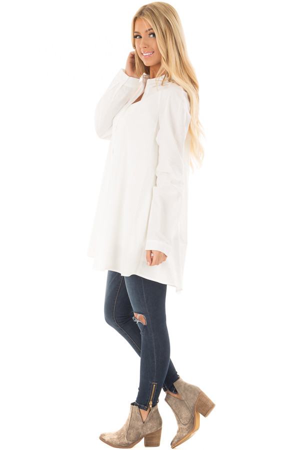 Ivory Oversized Button Up Tunic Top side full body