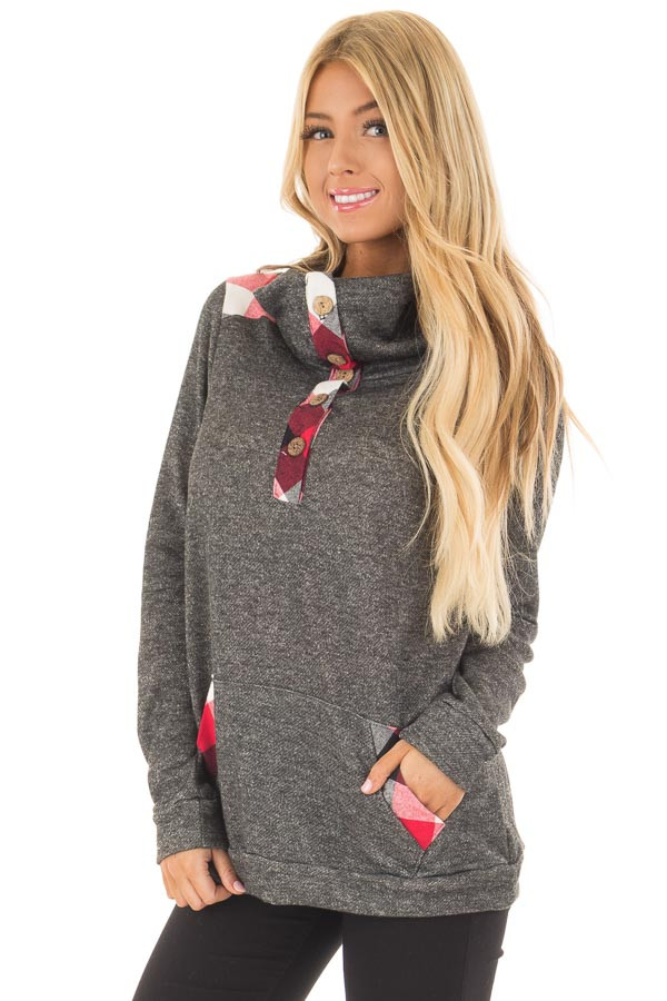 Charcoal Top with Red Plaid Contrast and Button Up Neckline front close up