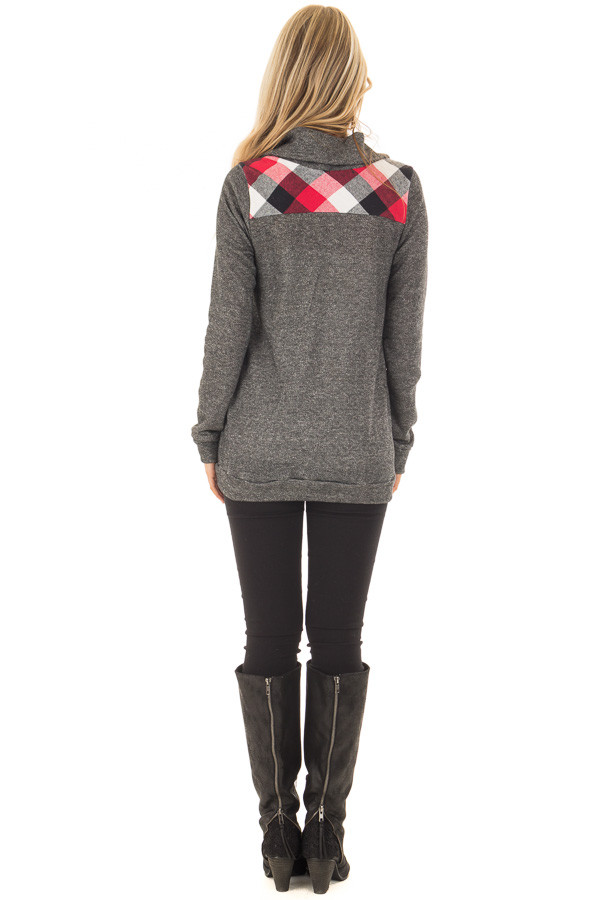 Charcoal Top with Red Plaid Contrast and Button Up Neckline back full body