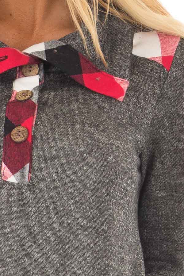 Charcoal Top with Red Plaid Contrast and Button Up Neckline detail