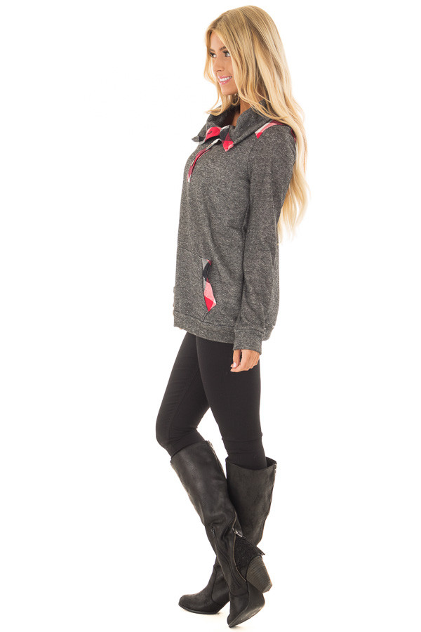 Charcoal Top with Red Plaid Contrast and Button Up Neckline side full body