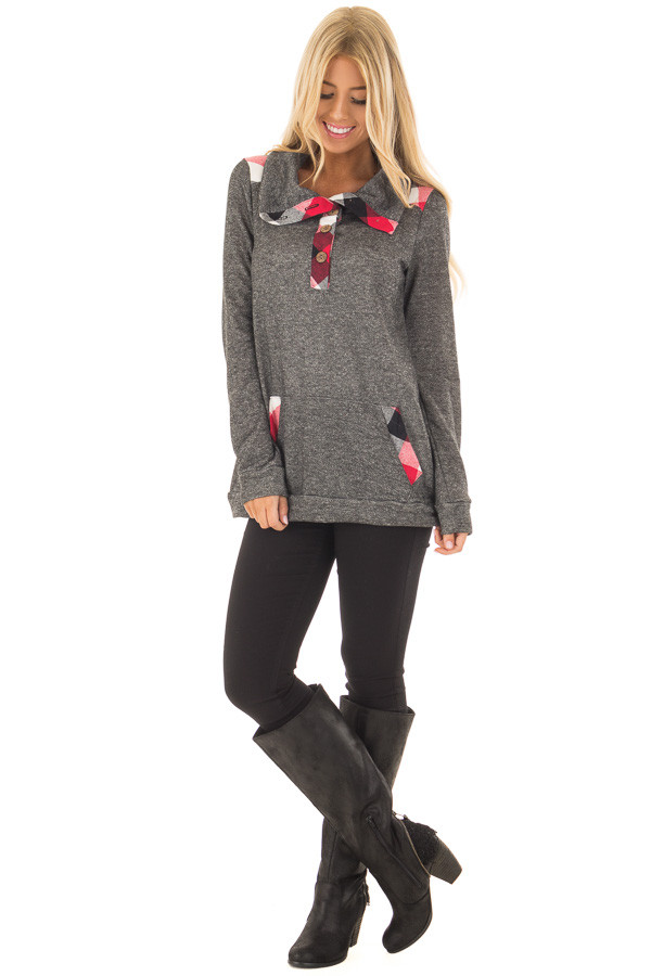 Charcoal Top with Red Plaid Contrast and Button Up Neckline front full body