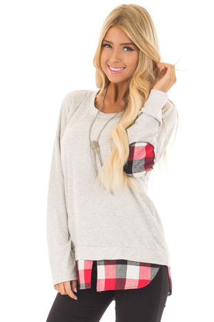 Light Grey Top with Red Plaid Hemline and Elbow Patches front close up