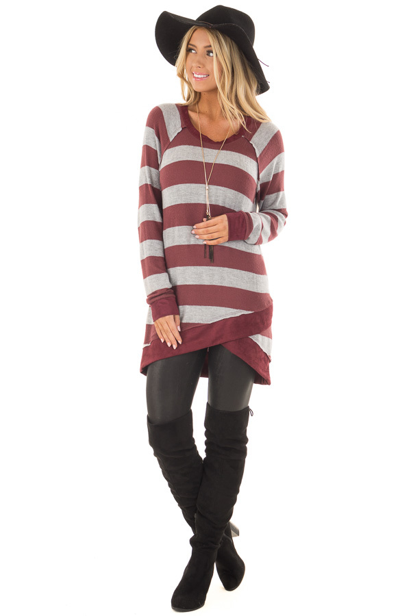 Burgundy Striped Layered Tunic with Faux Suede Details front full body