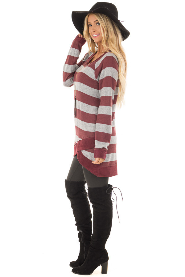 Burgundy Striped Layered Tunic with Faux Suede Details side full body