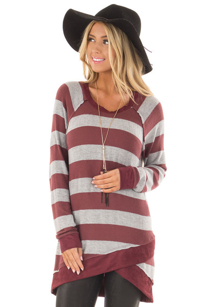 Burgundy Striped Layered Tunic with Faux Suede Details front close up