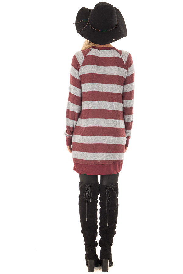 Burgundy Striped Layered Tunic with Faux Suede Details back full body