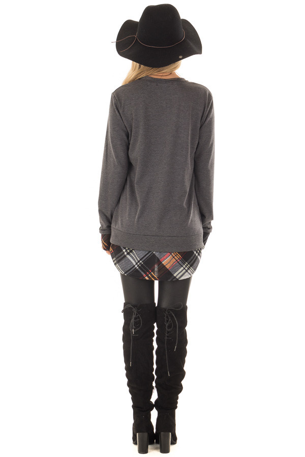 Charcoal Long Sleeve Top with Plaid Hemline and Cuffs back full body