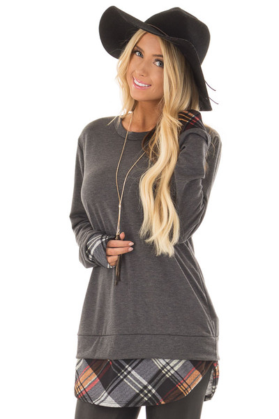 Charcoal Long Sleeve Top with Plaid Hemline and Cuffs front close up