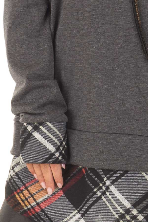 Charcoal Long Sleeve Top with Plaid Hemline and Cuffs detail