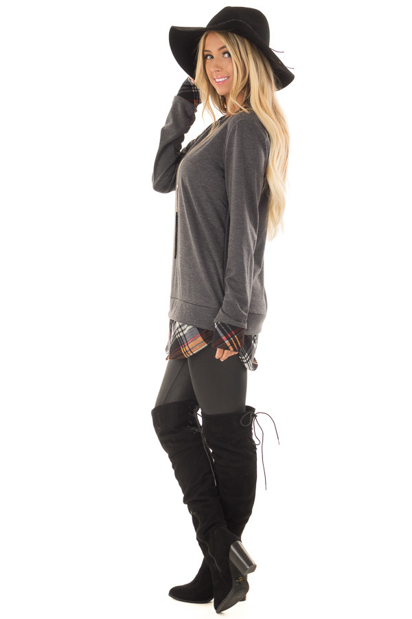 Charcoal Long Sleeve Top with Plaid Hemline and Cuffs side full body