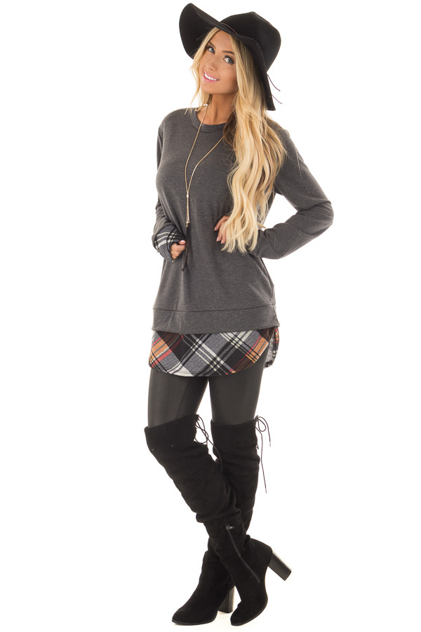 Charcoal Long Sleeve Top with Plaid Hemline and Cuffs front full body