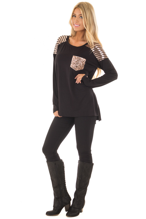 Black Top with Mocha Sequin Contrast and Pocket front full body