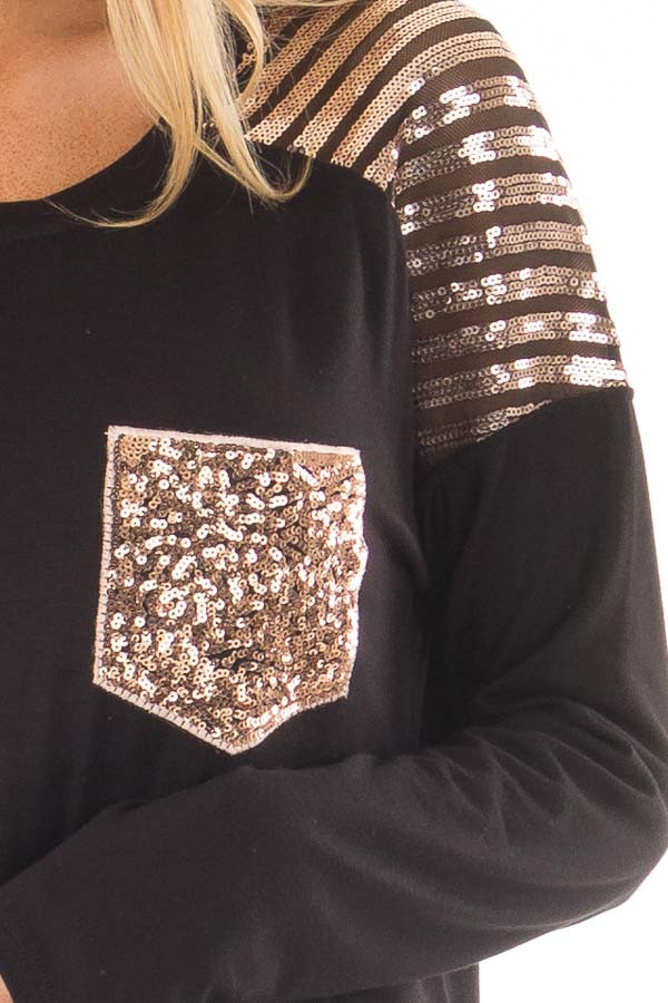 Black Top with Mocha Sequin Contrast and Pocket detail