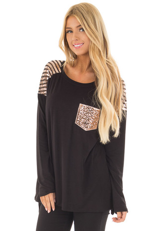 Black Top with Mocha Sequin Contrast and Pocket front close up
