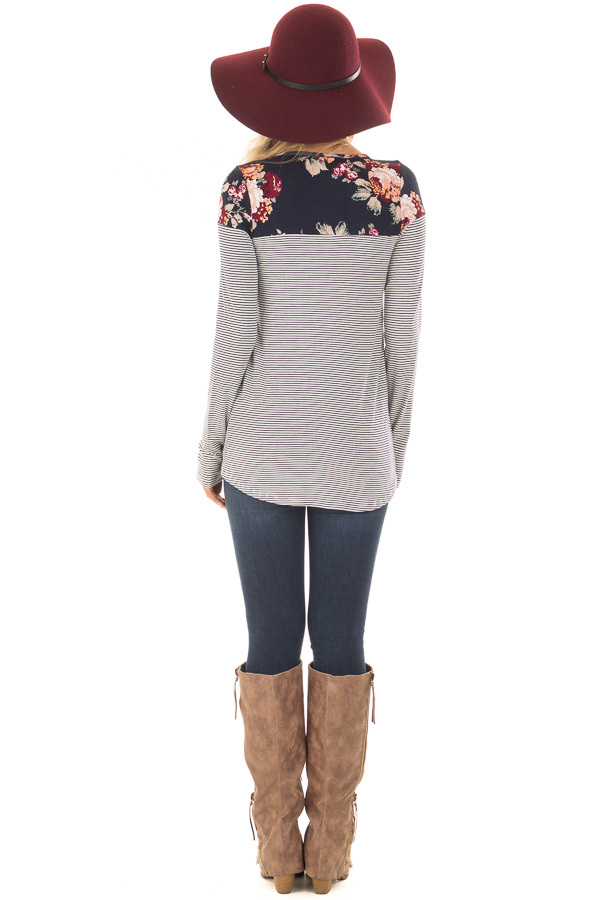Navy Striped Top with Floral Print Upper and Pocket back full body