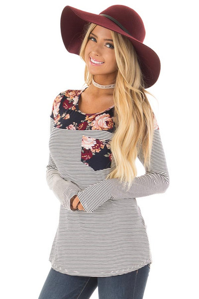 Navy Striped Top with Floral Print Upper and Pocket front close up