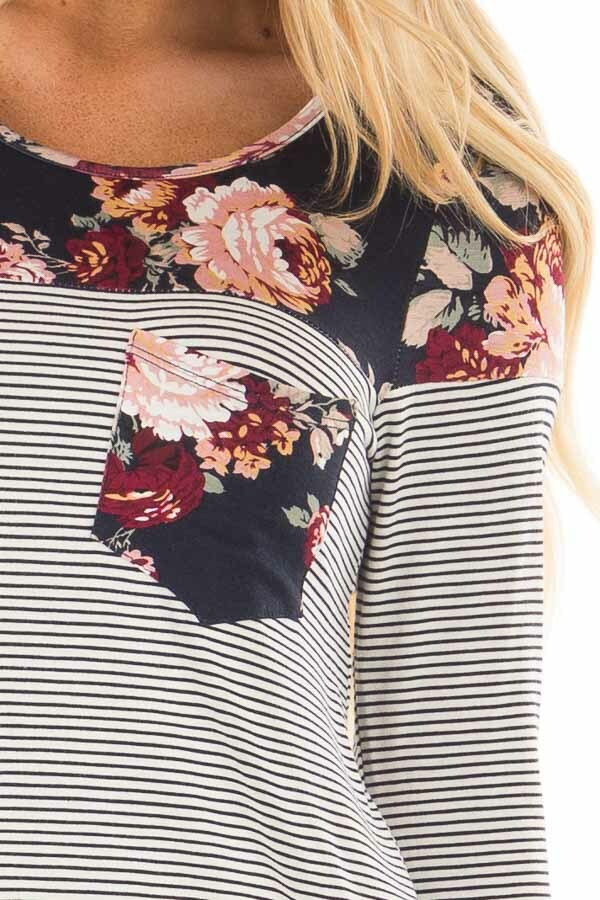 Navy Striped Top with Floral Print Upper and Pocket detail
