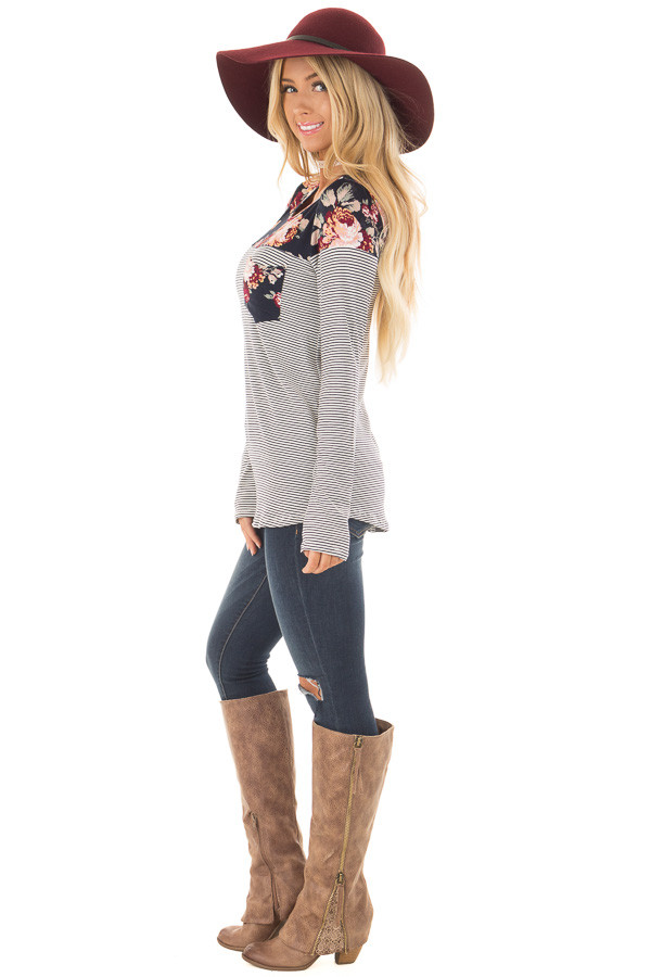 Navy Striped Top with Floral Print Upper and Pocket side full body