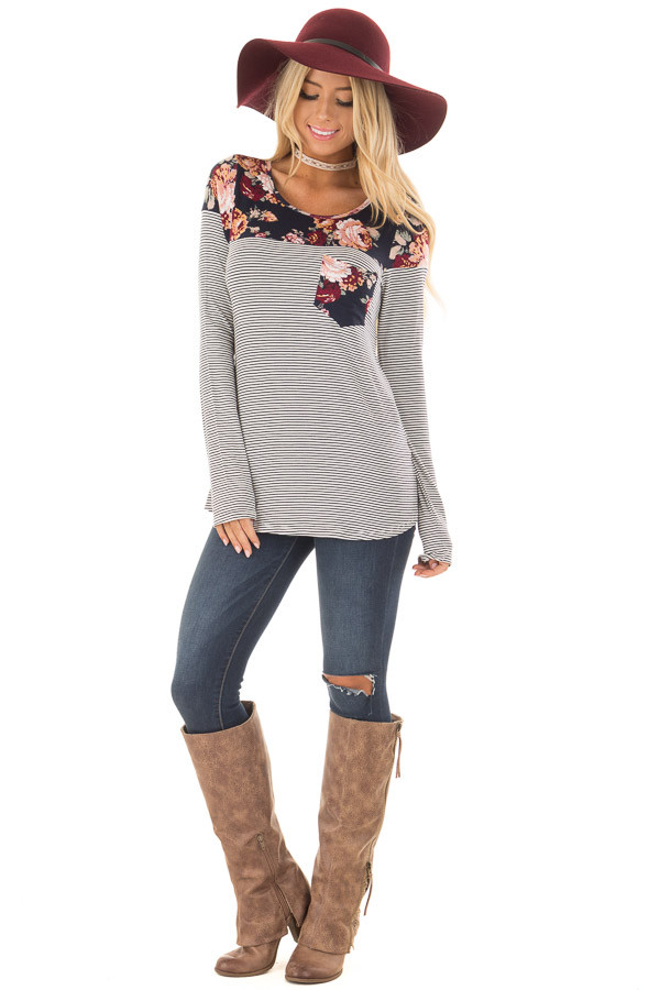 Navy Striped Top with Floral Print Upper and Pocket front full body