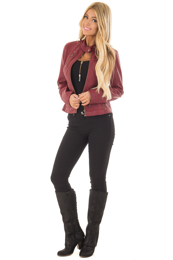 Burgundy Biker Jacket with Zipper and Button Collar front full body