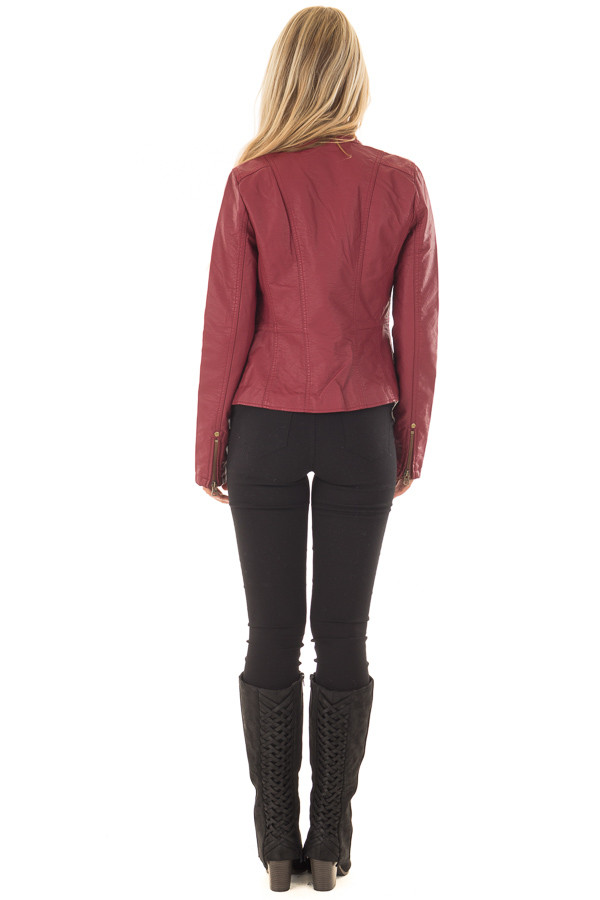 Burgundy Biker Jacket with Zipper and Button Collar back full body
