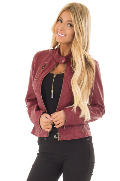 Burgundy Biker Jacket with Zipper and Button Collar front close up