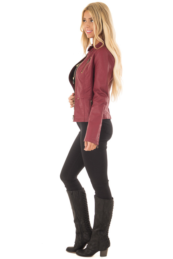 Burgundy Biker Jacket with Zipper and Button Collar side full body
