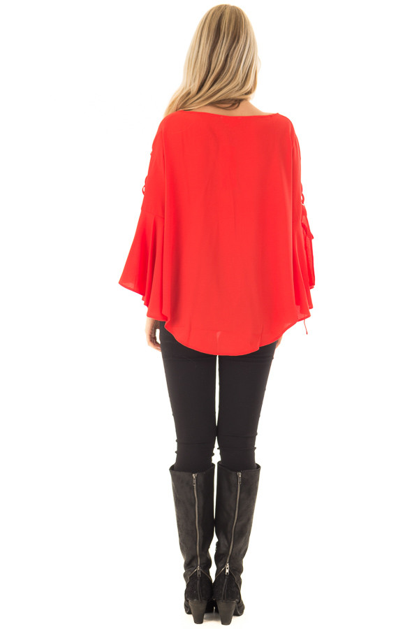 Tomato Blouse with Lace Up Bell Sleeves side full body