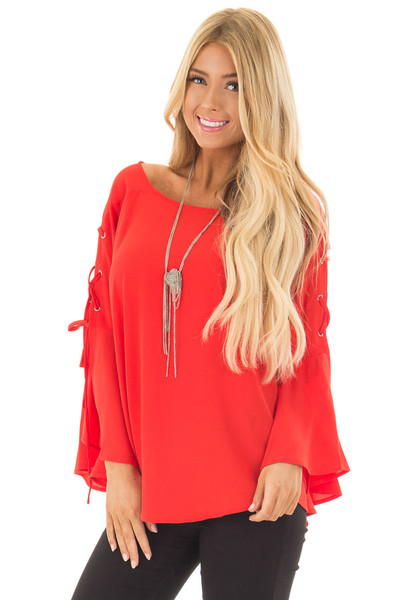 Tomato Blouse with Lace Up Bell Sleeves front close up