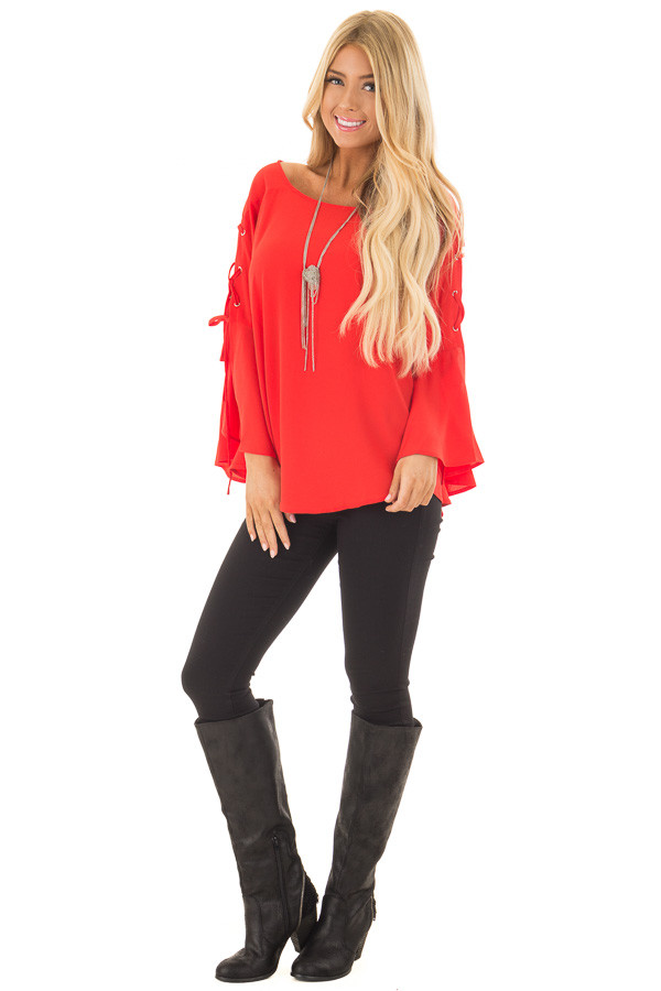 Tomato Blouse with Lace Up Bell Sleeves front full body