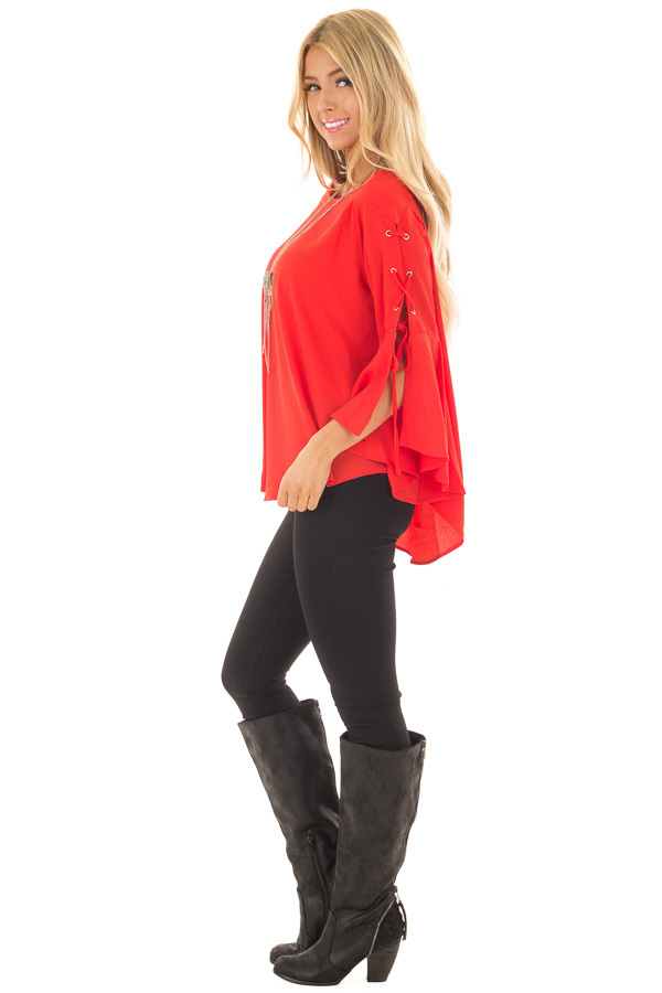 Tomato Blouse with Lace Up Bell Sleeves back full body