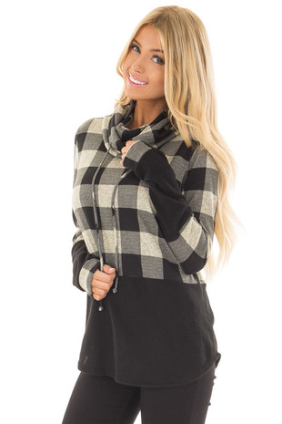 Black and Taupe Plaid High Neck Sweater front close up