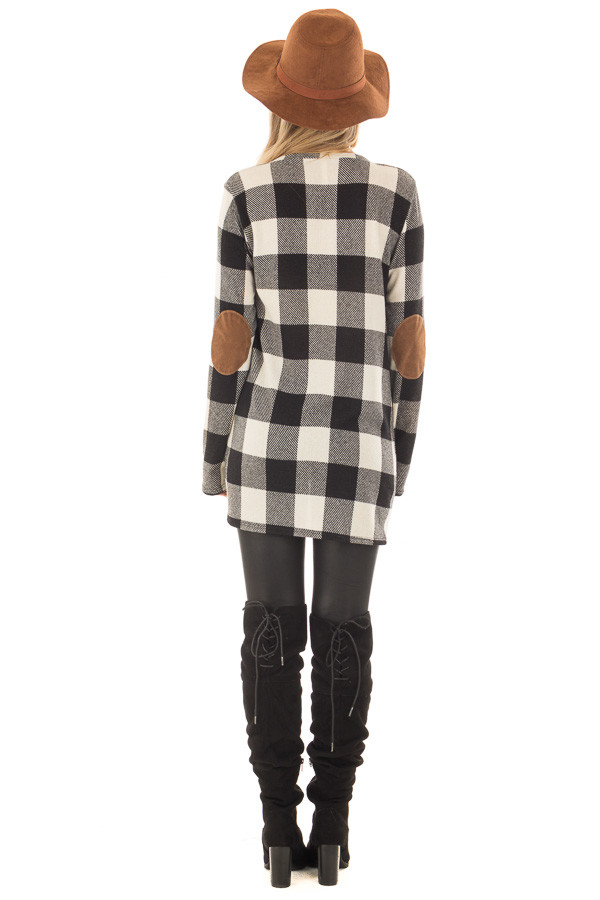 Black and Ivory Plaid Top with Front Twist and Elbow Patches back full body